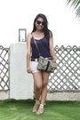 Cream-surplus-shorts-navy-anne-hathaway-top-dark-brown-gh-belt-cream-flora