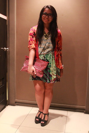 red printed cardigan - blue printed Mossimo top - green printed skirt