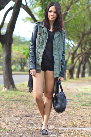 army green leather sleeved Topshop jacket - black Alexander Wang bag