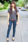 Gray-h-m-t-shirt-red-belt-zara-black-dolce-vita-shoes-black-michael-kors