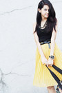 Plaid-joyrich-x-lesportsac-bag-black-tank-h-m-top-mustard-wagw-skirt