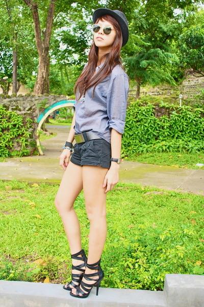 black Zara - gray from hong kong - black belt - black H&M shorts - black Forever