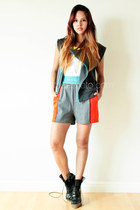charcoal gray cotton human vest