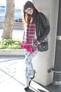 Black-jacket-pink-from-my-grandmother-scarf-white-topshop-gray-black-ald