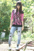 pink Mango top - black - DIY - black H&M stockings - silver doc martens
