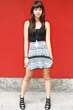 black Urban Outfitters top - aztec printed American Apparel skirt - black