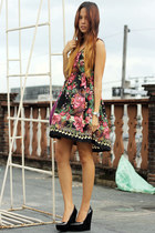 floral printed Mango dress - magenta Marc by Marc Jacobs bag - black Aldo heels