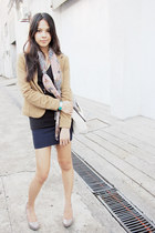 beige Charles & Keith pumps - camel Forever 21 blazer - printed Forever 21 scarf