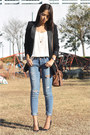 Distressed-american-eagle-jeans-black-oversized-mango-blazer