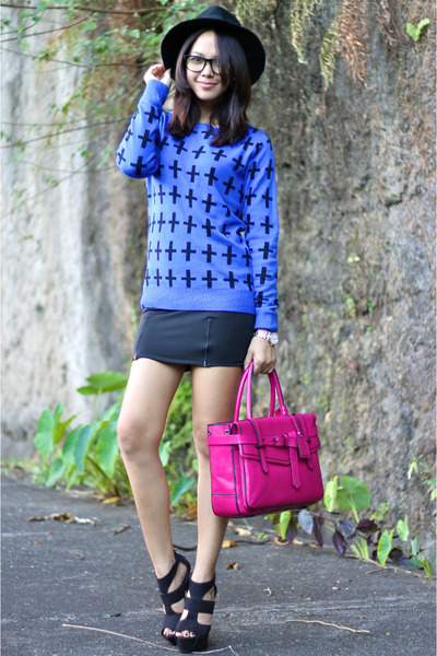 magenta Reed Krakoff bag - blue Forever 21 sweater