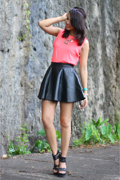 black leather Sheinside skirt - hot pink dress turned H&M top
