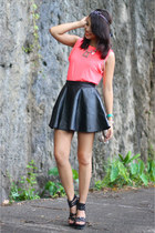 black leather Sheinside skirt - hot pink dress turned H&M top