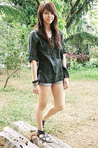 studded denim Glitterati shorts - black tunic from my mom - black tube top