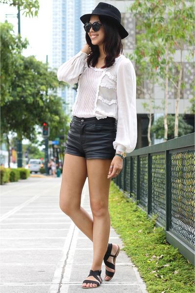 white lace Topshop top - black leather Topshop shorts