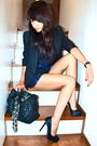 black blazer - black satin pumps Aldo - black romper Max Azria