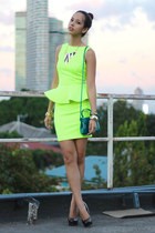 yellow peplum apartment 8 dress