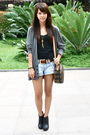 Gray-topman-cardigan-black-forever-21-top-red-belt-urban-outfitters-shorts