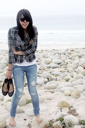 plaid Charlotte Russe blazer - DIY - white tank top Topshop