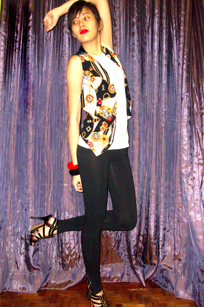 white baleno top - vintage vest - H&M leggings - black bought online shoes