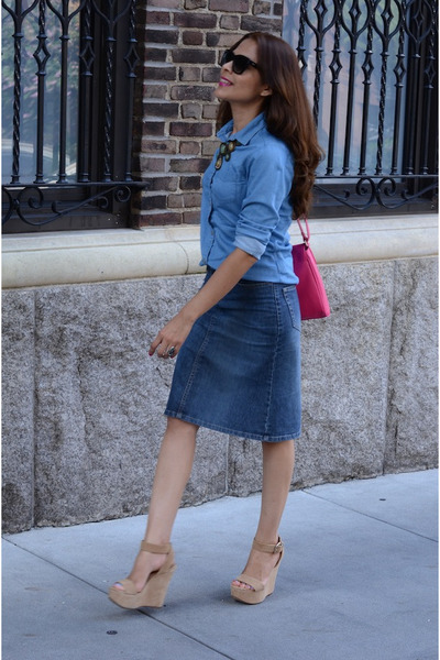 navy H&M skirt - blue Uniqlo blouse - camel Aldo pumps