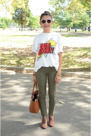 army green Bershka pants - white Zara t-shirt