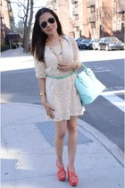aquamarine Ivanka Trump bag - salmon Zara shoes - eggshell TJMaxx dress