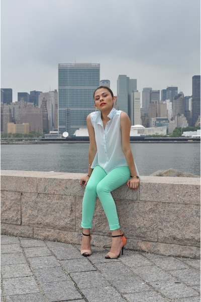 aquamarine H&M pants - light blue TJ Maxx blouse - Zara heels