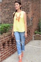 blue Forever 21 jeans - carrot orange Zara shoes - yellow Forever 21 blouse
