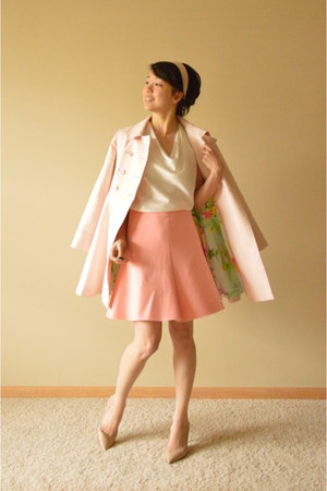 light pink ted baker coat - pink Zara skirt - ivory ann taylor blouse
