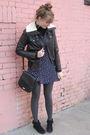 Brown-f21-jacket-blue-thrift-dress-black-thrift-purse-black-minnetonka-boo