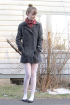gray thrifted coat - red thrifted scarf