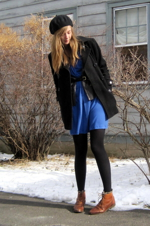blue 2nd Hand dress - brown Ebay boots - black Marshalls coat - black H&amp;M hat