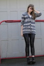 Gray-f21-sweater-black-h-m-leggings-black-doc-martens-boots