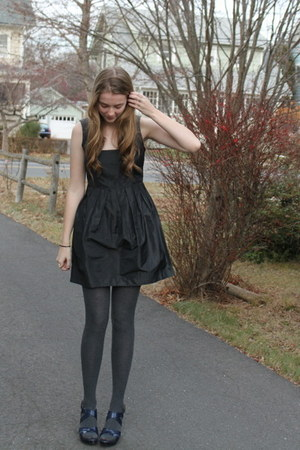 black modcloth dress - charcoal gray tights - navy wedges
