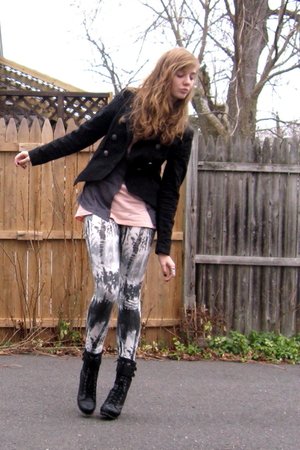 black Target jacket - beige aa shirt - silver Macys vest - black f21 leggings -