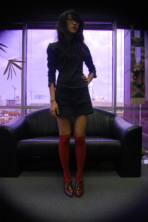 claude montana dress - American Apparel socks - biala shoes - DKNY glasses