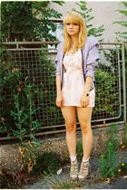 pink DIY dress - purple vintage blazer - beige Zara shoes - gold accessories
