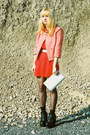 Black-ebay-boots-red-h-m-dress-coral-h-m-jacket-white-vintage-bag-white-