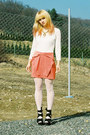 Carrot-orange-bow-h-m-skirt-off-white-lace-vintage-bodysuit-black-topshop-we