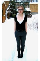 Zara pants - H&M cardigan - Zara top - Zara boots - Ray Ban glasses