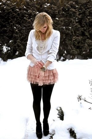 white cardigan - pink skirt - black shoes - gold bracelet - white necklace