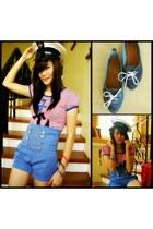 soul shorts - Hamerhead shorts - sailor hat Thrift Store hat - blouse