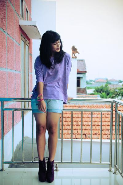 purple Decimal Shoes boots - jeans Zara shorts - shredded studd GOWIGASA blouse