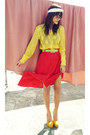 Yellow-knit-thrifted-top-red-vintage-skirt-yellow-asianvoguemultiplycom-heel
