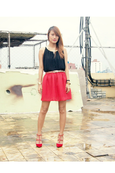 red Cruella and Co skirt - ruby red Fancy Feet heels - black from singapore top