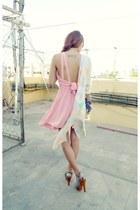 pink All Dolled Up dress - aquamarine thrifted blazer