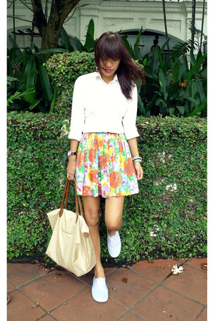 white g2000 shirt - beige from malaysia bag - orange from a blogshop skirt - hea
