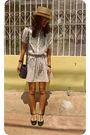 Gray-cherry-dress-thrifted-dress-black-millies-shoes-blue-liz-claiborne-bag-