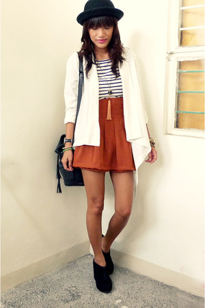 burnt orange skorts vintage shorts - white draped from garage sale cardigan - na