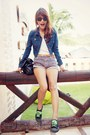 Navy-denim-forever-21-jacket-blue-thrifted-shorts-black-shulong-sneakers